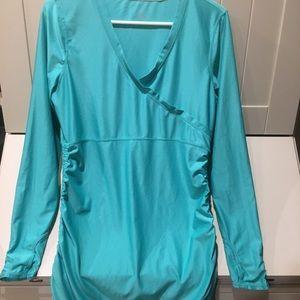 Athleta Aqua Green long-sleeved cinched side shirt
